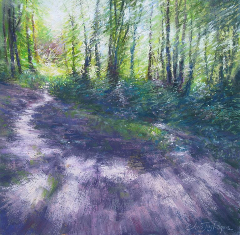 pastel woodland painting